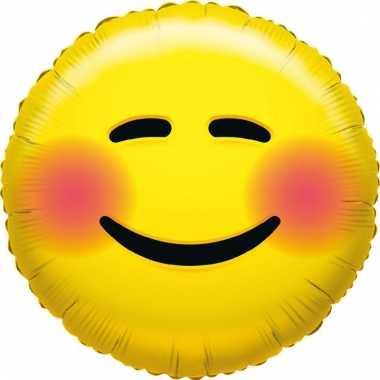 Kado ballon emoticon met blosjes 35 cm