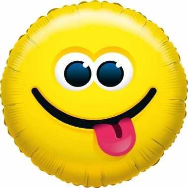 Kado ballon emoticon uitgestoken tong 35 cm