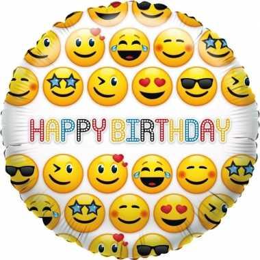 Kado ballon emoticon verjaardag 35 cm
