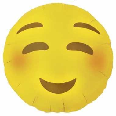 Kado ballon stiekem verliefde emoticon met blosjes 46 cm