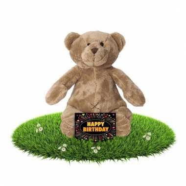 Kado knuffel beer 17 cm gratis verjaardagskaart