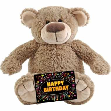 Kado knuffel beer beige 22 cm + gratis verjaardagskaart