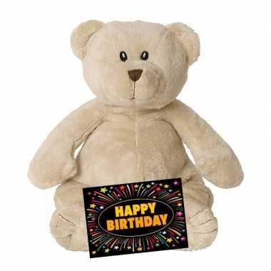 Kado knuffel beer beige 23 cm + gratis verjaardagskaart