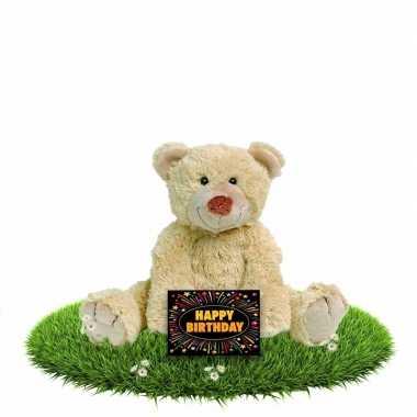 Kado knuffel beer beige 35 cm + gratis verjaardagskaart