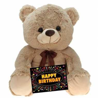 Kado knuffel beer beige 75 cm + gratis verjaardagskaart
