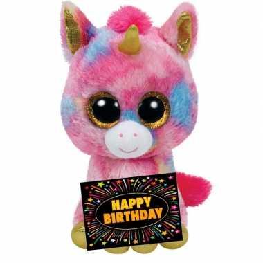 Kado knuffel eenhoorn 24 cm + gratis verjaardagskaart