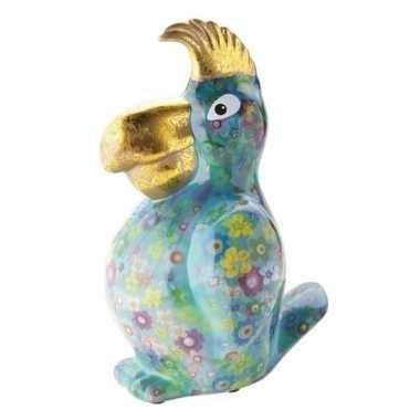 Kado spaarpot blauwe papegaai met bloemen print 22 cm