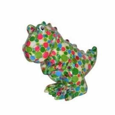 Kado spaarpot dinosaurus met gekleurde stippen print 17 cm