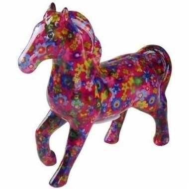 Kado spaarpot fuchsia paard met bloemetjes print 21 cm