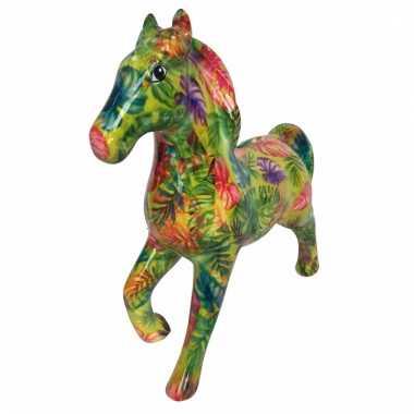 Kado spaarpot geel paard met blad print 21 cm