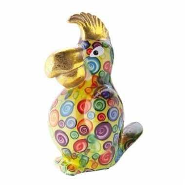 Kado spaarpot gele papegaai met ballen print 22 cm