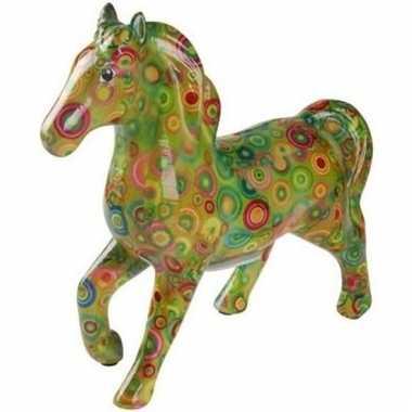 Kado spaarpot groen paard met rondjes print 21 cm