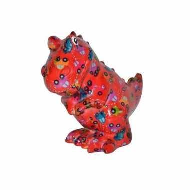 Kado spaarpot rode dinosaurus met autootjes print 17 cm