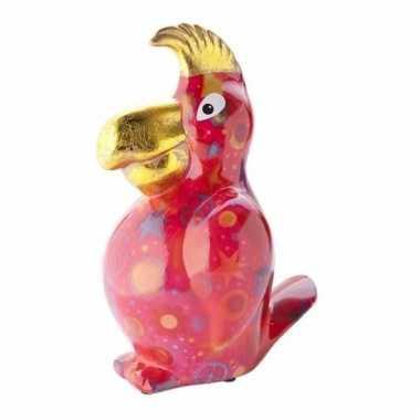 Kado spaarpot rode papegaai met peace print 22 cm