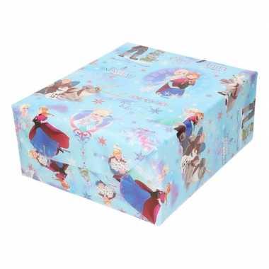 Kadopapier/cadeaupapier rol disney frozen blauw met sneeuwvlokken 200