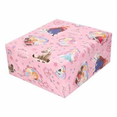 Kadopapier/cadeaupapier rol disney frozen roze met sneeuwvlokken 200