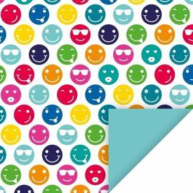 Kadopapier feest met gekleurde smileys 70 x 200 cm