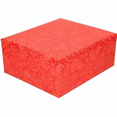 Kadopapier rood met motief 70 x 200 cm