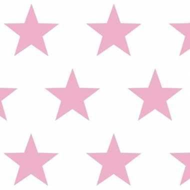 Kadopapier wit met roze sterren 70 x 200 cm