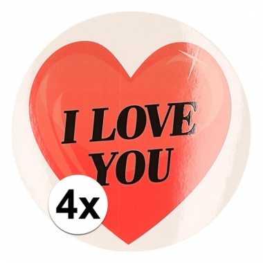 Kadostickers hart i love you 9 cm 4 stuks