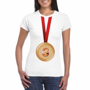 Kampioen bronzen medaille shirt wit dames