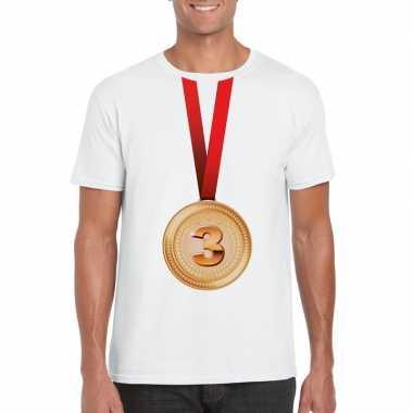 Kampioen bronzen medaille shirt wit heren