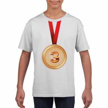 Kampioen bronzen medaille shirt wit jongens en meisjes