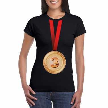 Kampioen bronzen medaille shirt zwart dames
