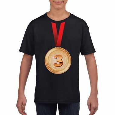 Kampioen bronzen medaille shirt zwart jongens en meisjes