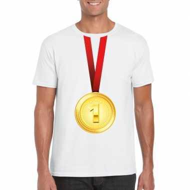 Kampioen gouden medaille shirt wit heren