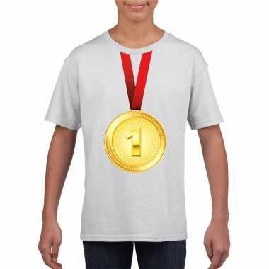 Kampioen gouden medaille shirt wit jongens en meisjes