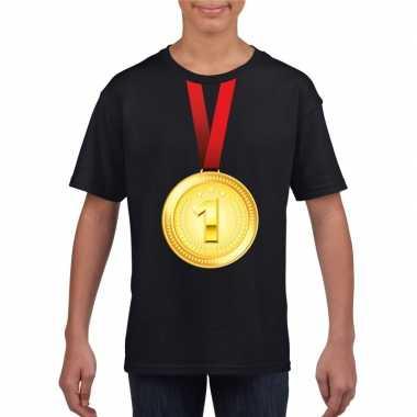Kampioen gouden medaille shirt zwart jongens en meisjes