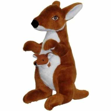 Kangoeroe dierenknuffel met jong 50 cm