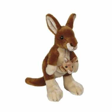Kangoeroe met baby knuffel 22 cm