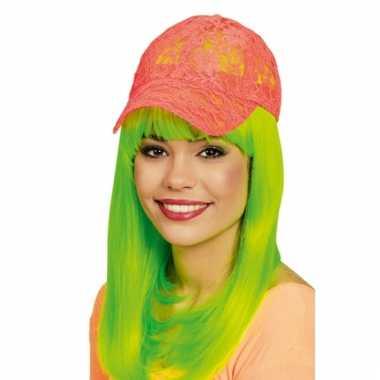 Kanten neon oranje baseball cap voor dames