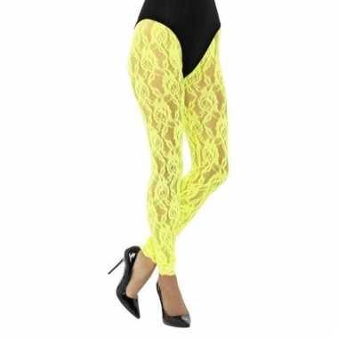 Kanten panty neon geel voor dames
