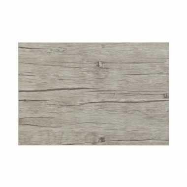 Kantoor bureau onderlegger hout look grijs 45 x 30 cm