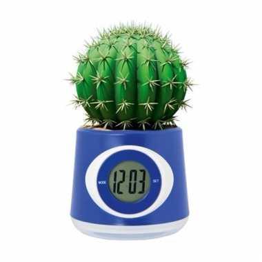 Kantoor gadget blauwe bloempot/klok 11 cm