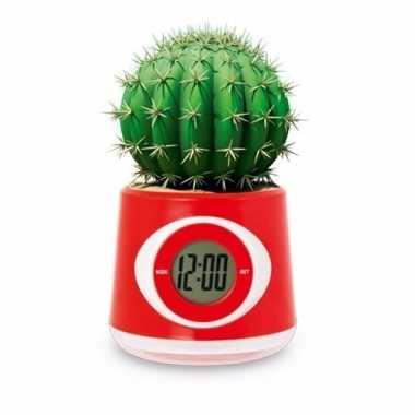 Kantoor gadget rode bloempot/klok 11 cm
