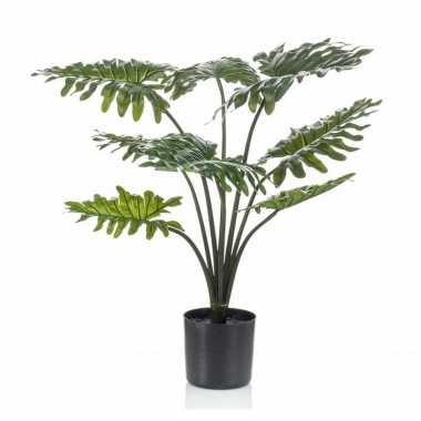 Kantoor kunstplant groene philodendron 60 cm in zwarte pot