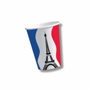 Kartonnen bekers met vlag van frankrijk 10x