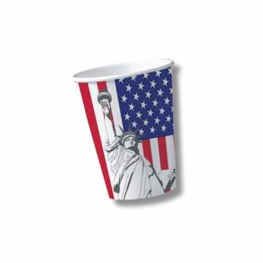 Kartonnen bekers met vlag van verenigde staten 10x