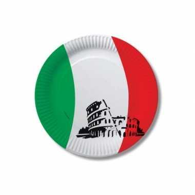 Kartonnen bordjes met vlag van italie 10x