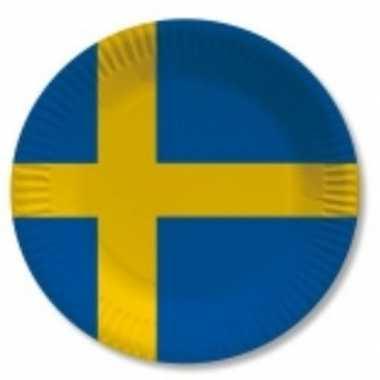 Kartonnen bordjes met vlag zweden 10 x