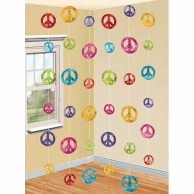 Kartonnen hippie thema hangdecoratie 6 stuks