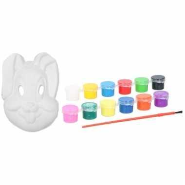 Kartonnen masker konijntje/haasje met 12 kleuren verf