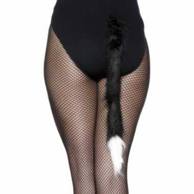 Kat staartje zwart met wit