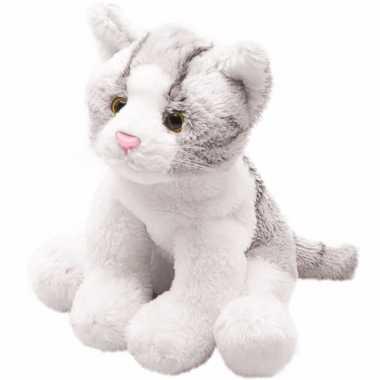 Kater/poes knuffels grijs zittend 12 cm