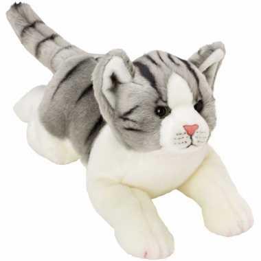 Kater/poes knuffels liggend grijs/wit 33 cm