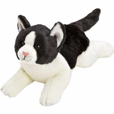 Kater/poes knuffels liggend zwart/wit 33 cm